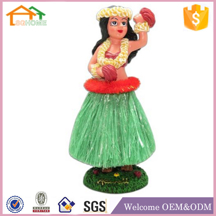 Factory Custom made best home decoration gift polyresin resin figurines hula girl