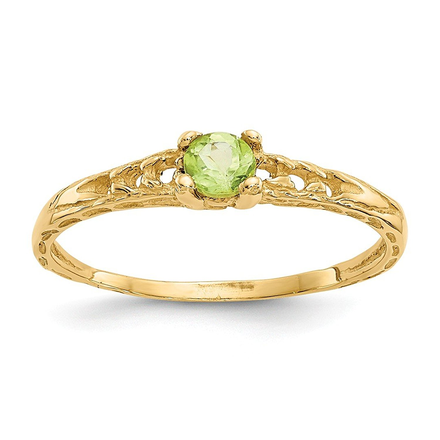 13a5465d84d054 Get Quotations · ICE CARATS 14kt Yellow Gold 3mm Green Peridot Birthstone  Baby Band Ring August Fine Jewelry Ideal