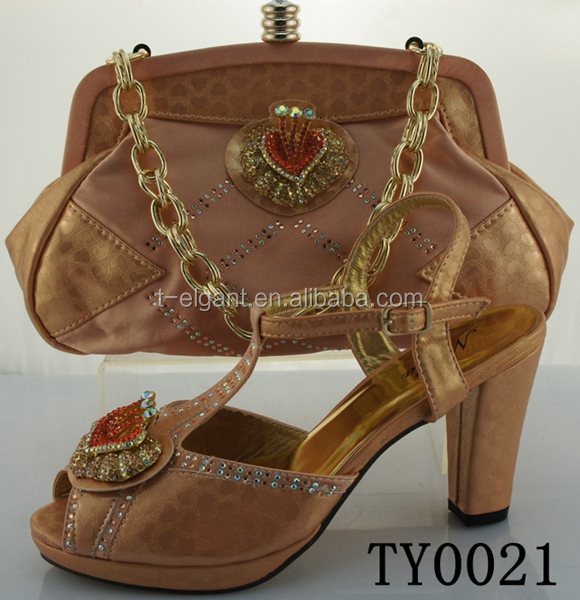 2016 new wholesale italian matching shoe and bag 2 inch high heel Italian Shoes And Bag Set