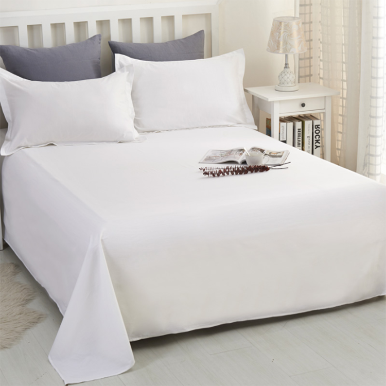 King Size 100% cotton White Hotel Bed Linen Flat Sheets Set
