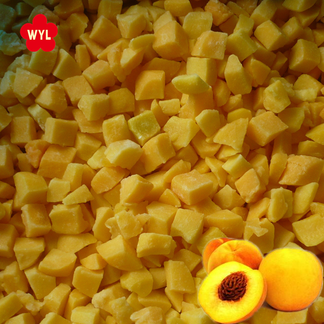 Grade A 10*10mm Diced Frozen IQF Yellow Peach