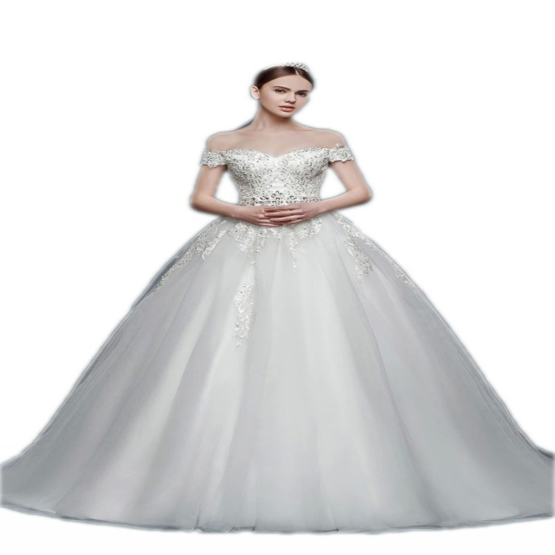 2015 New Design Wedding Dresses Off Shoulder Lace Beading Bodice A-line Style Bridal Gowns