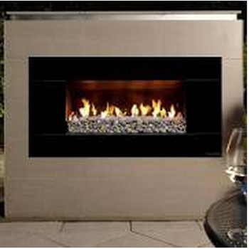 Available Escea Ef5000 Outdoor Natural Gas Fireplace Black With New Zealand River Rock