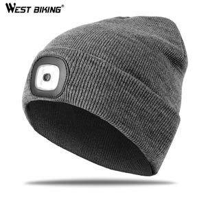 WEST BIKING Bike LED Lighted Cap Warm Knit Hat Unisex Flash Headlight Outdoor Sports Night Fishing Running Cycling Lighting Caps