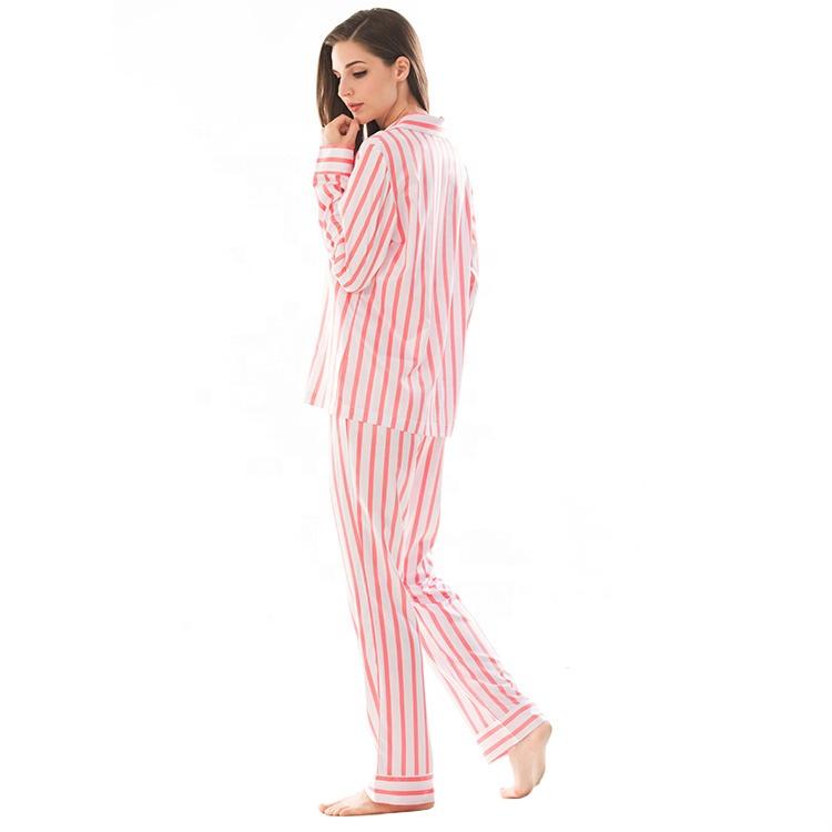 Wholesale Custom Made The Lady Night Wear Set Adult Printed Woman Satin Striped Pyjamas