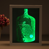 2018 Hot sell LED light paper cut 3d shadow art frame 3D photo box frame