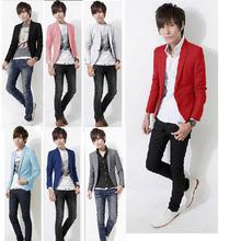 S5151 HOT 2015 new arrival single button mens suit slim fit jacket full sleeve cotton blazers large size Pure color 7 color