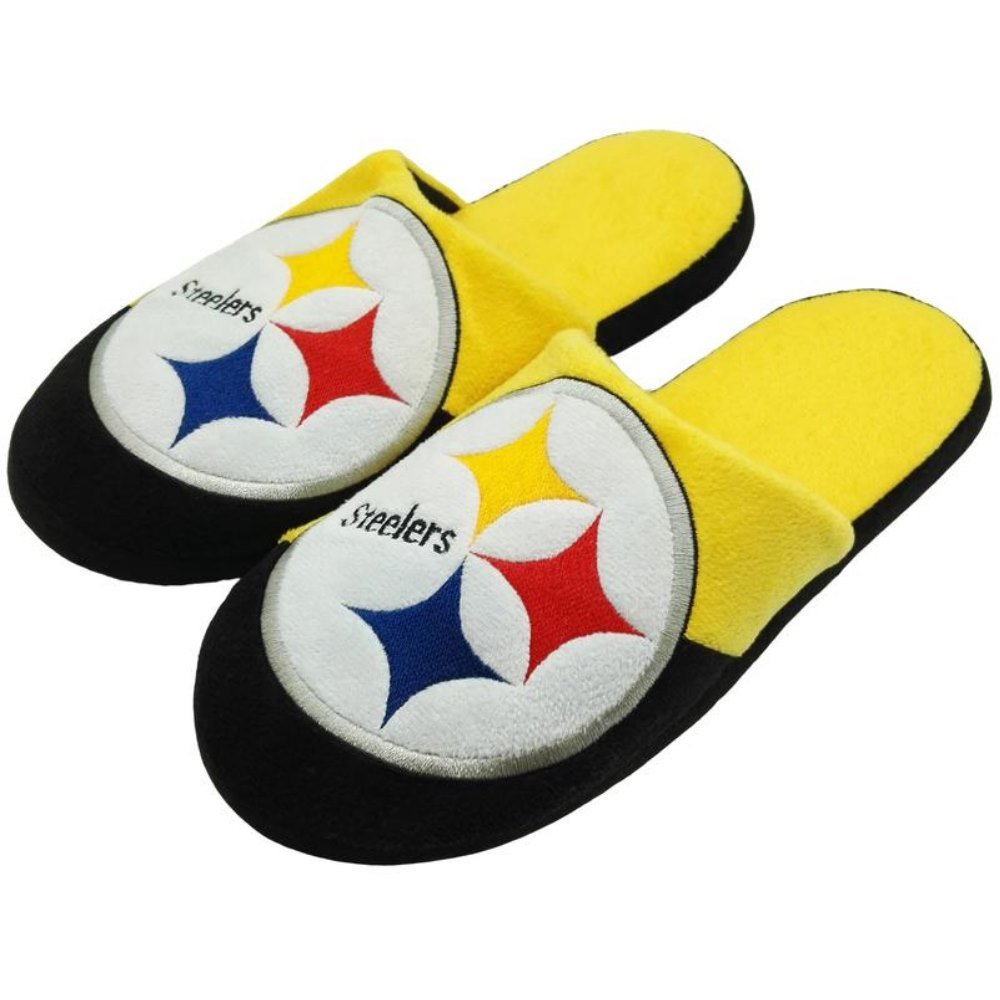 04f66ffd2f3b Get Quotations · Officially Licensed NFL Team Logo Color Block Slide Style  Slippers Assorted Teams and Sizes