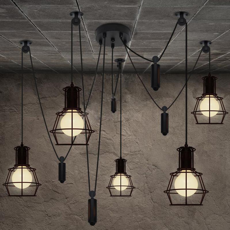 vintage industrial nordic loft edison bulb chandelier retro ceiling spider pendants antique. Black Bedroom Furniture Sets. Home Design Ideas