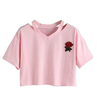 Wholesale OEM Crop Top Mujer T Shirts Custom Rose Embroidery Short Sleeve Top Women Blouse