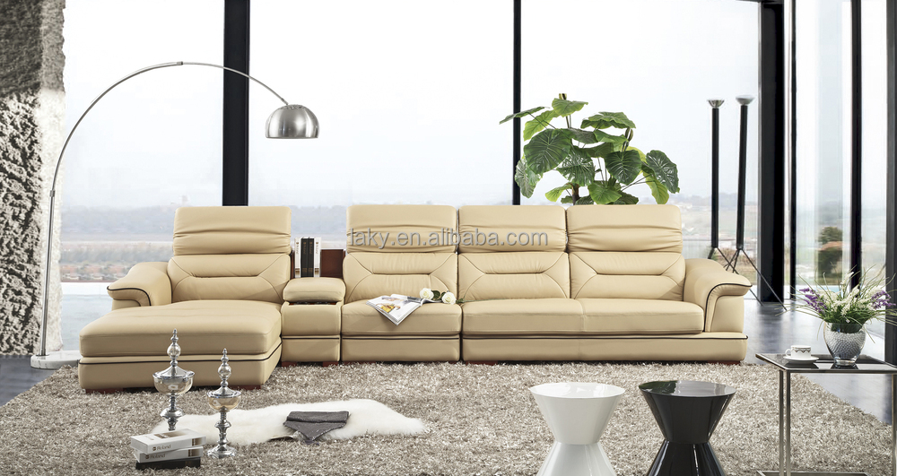 Lk T01 Cream Colored Leather Sofa With Middle Cabinet