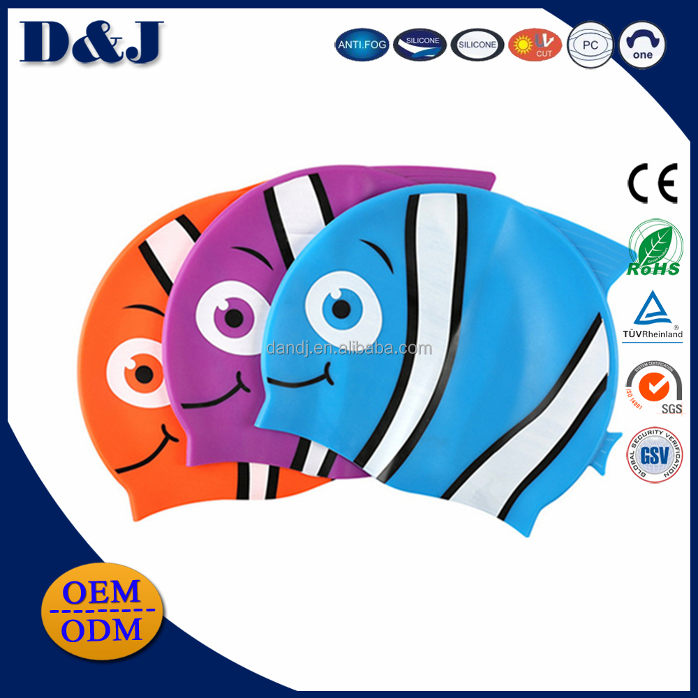 Waterproof cute high quality silicone fish anime and rain printing design children swim cap