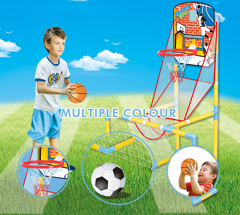 Hot selling outdoor indoor plastic football basketball goal sports toys for kids