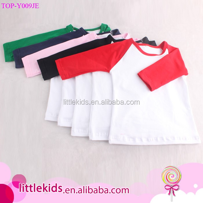 Wholesale Unisex Baby Kids Children Scoop Neck Baseball Jersey Shirts 3/4 Sleeve Two-Tone Contrast Raglan Tshirt Monogram Blanks