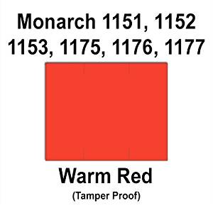 96,000 Monarch 1151 compatible Warm Red General Purpose Labels to fit the Monarch 1151, 1152, 1153, 1175, 1176, 1177, 1180 & 1493 Price Guns. Full Case + includes 16 ink rollers.