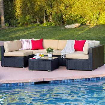 Outdoor Set Furniture Wicker 7 Rattan Sofa Patio Piece Garden Dy9h2wie