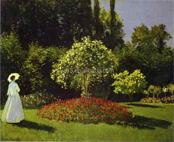 Famous Artists Oil Painting Claude Monet Reproduction Woman In The Garden  Sainte Adresse 1867years