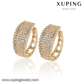92963 Statement Jewelry 18k Gold Zircon Tanishq Diamond Earrings