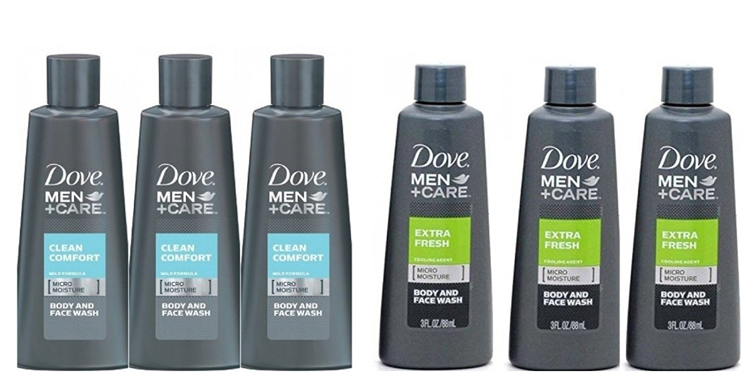 Dove Men + Care Extra Fresh Body and Face Wash 3 Oz Travel Size 3pk And Care Clean Comfort Micro Moisture Mild Body Wash 3pk
