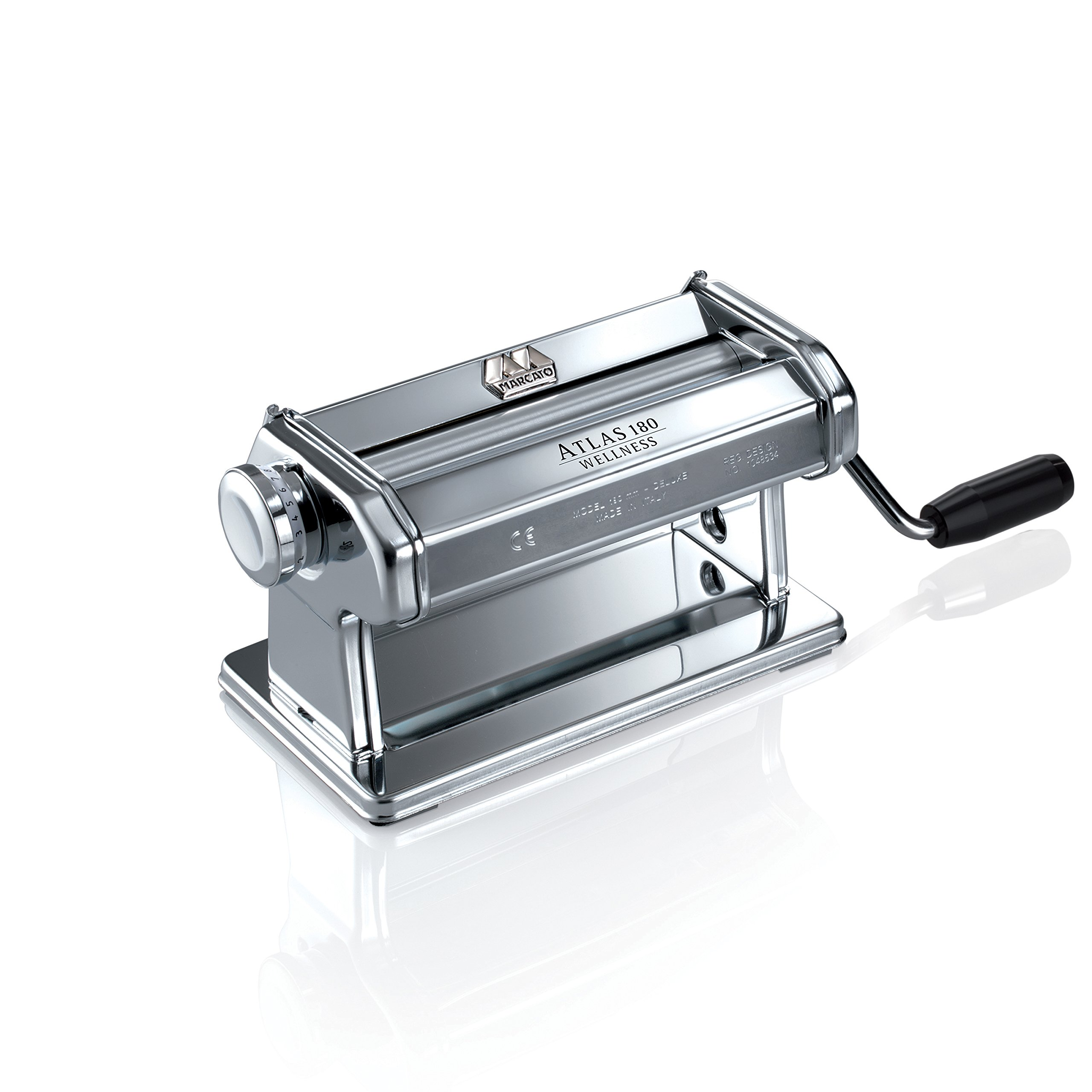 Marcato Atlas Pasta Roller, Includes Extra Wide 180-Millimeter Pasta Roller with Hand Crank and Instructions