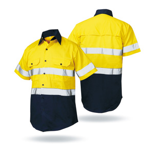 675a3c2f Mens Two Tone 3M Reflective Shirt High Vis Safety breathable work shirts
