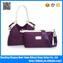 High quality promotional bags fashion handbags women nylon designer bags set for lady