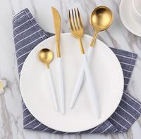 30% OFF white gold plated 18/10 stainless steel flatware set 304 dinner cutlery set