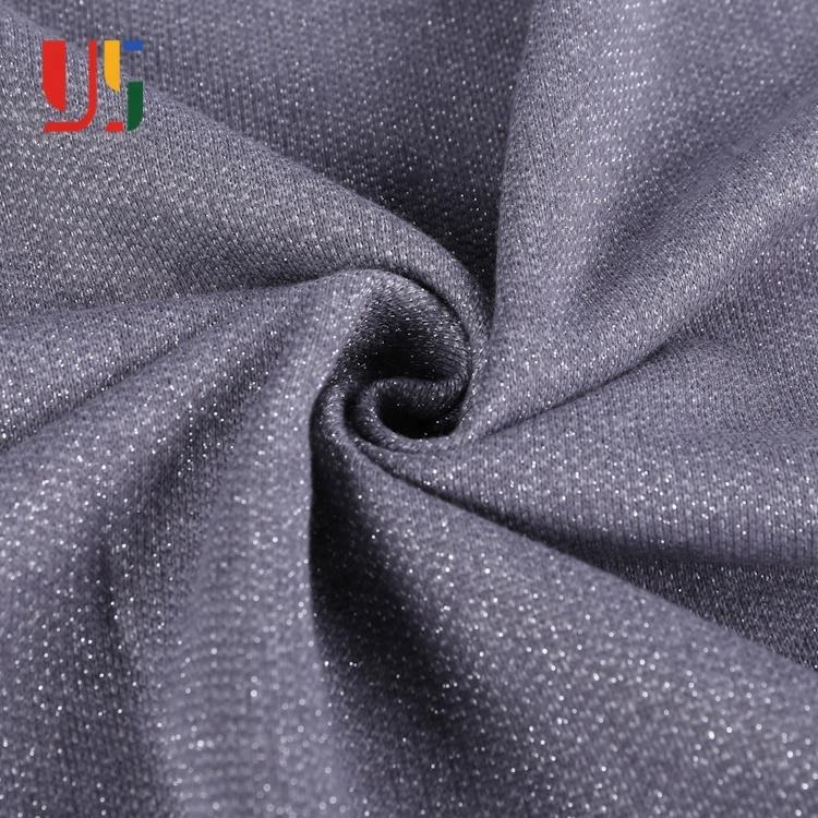 Gris tc teint chiné polyester lurex tissu éponge français pour hommes à capuche