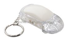 Hot car shape plastic white LED flashlight keyring with metal ring