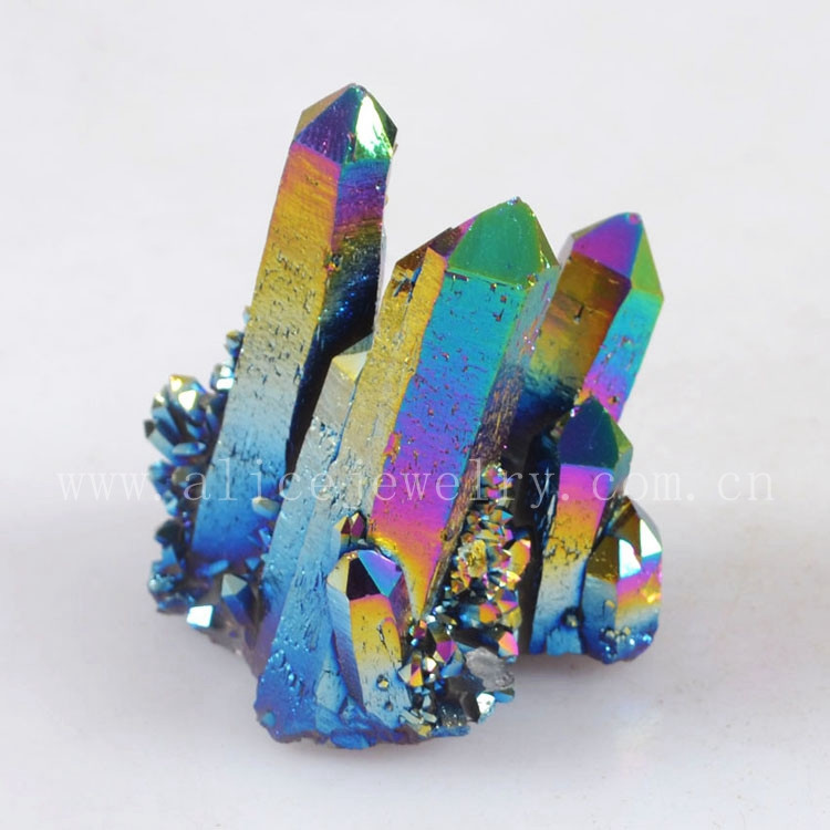 Wholesale Rough Titanium Rainbow Flame Aura Quartz Crystal