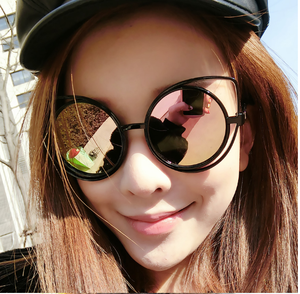 brand design cat eye frame round lens Women Sunglasses anti-reflective uv400 2017 new arrival sun glasses wholesale 2123