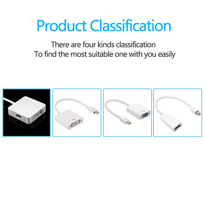 3 in 1 Mini DP DisplayPort Thunderbolt to HDTV/DVI/VGA Display Port Cable Adapter for MacBook