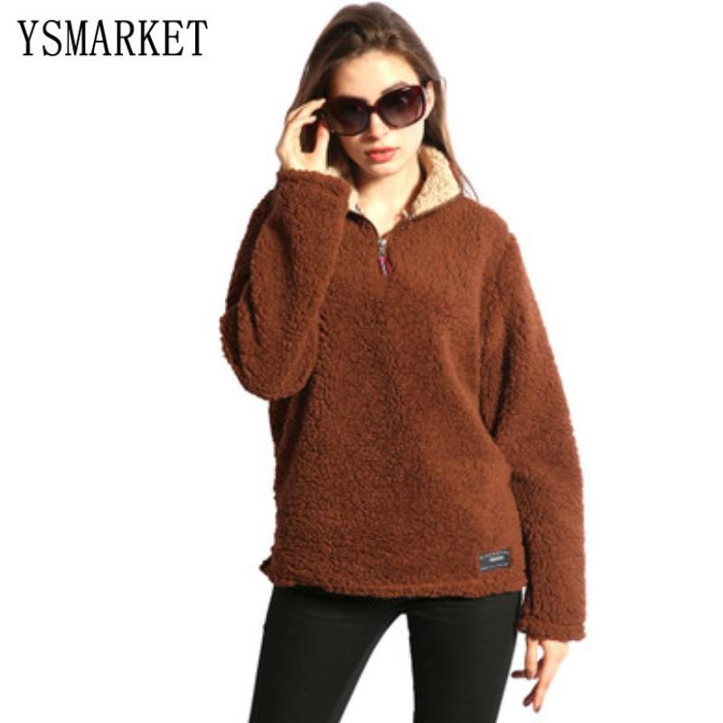 4a8fd79fa0 13 cor Casaco de Inverno Quente Pullover Metade Zipper Hoodies Manga Longa  Outono Camisola Feminina Plus