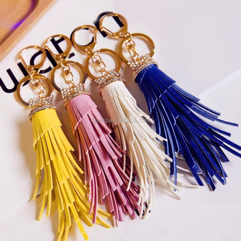 Wholesale cheap leather tassel for handbags,leather tassel key chains