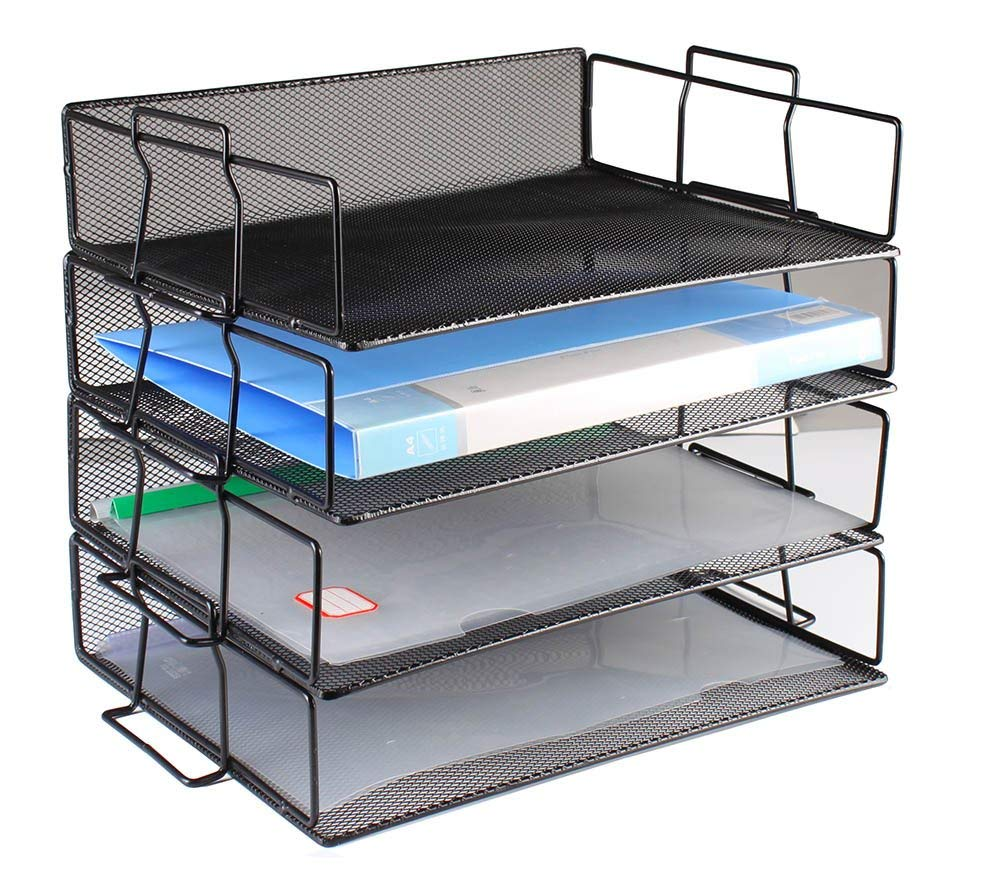 Document Tray Office Desk Organizer Mesh Collection Letter Tray Stackable Shelves Desktop Paper Holder (Black, 4-Tier)