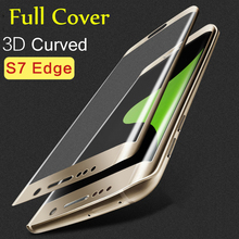 Hot New 3D Curved full cover Tempered Glass For Samsung Galaxy S7 S7 Edge 9H Screen Protector Film 5.1″ 5.5″ with retail package