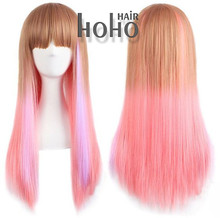 customized hair weave packaging heat resistant synthetic colorful party wigs