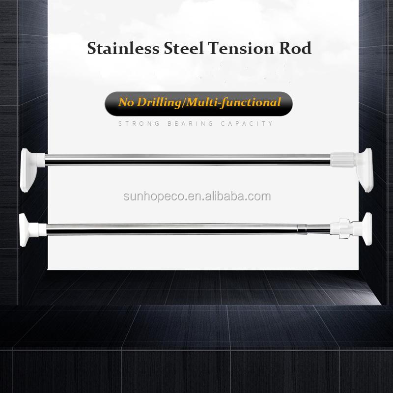 Spring Telescopic 50-300cm Extendable Shower Curtain Rail Pole Rod Bath Window