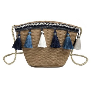 women crochet beach bag straw shoulder bag tassel crossbody bag