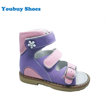 2c020b35b00 Pink purple flower decoration girls fancy sandals arch support insole leather  shoes for kids