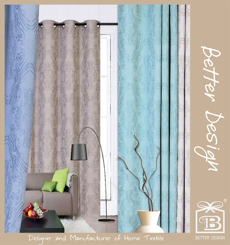 1 PC Blu / Taupe / Teal / Beige Tenda oscurante decorativa all'ingrosso di colore Jacquard