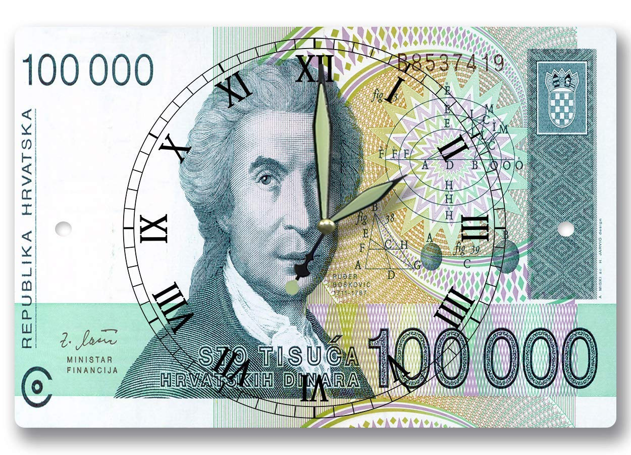 Get Quotations Ruggero Boscovich Money Clock Series 1991100000 Croatian October Dinar 8 X 12 Inch Wall Physicist