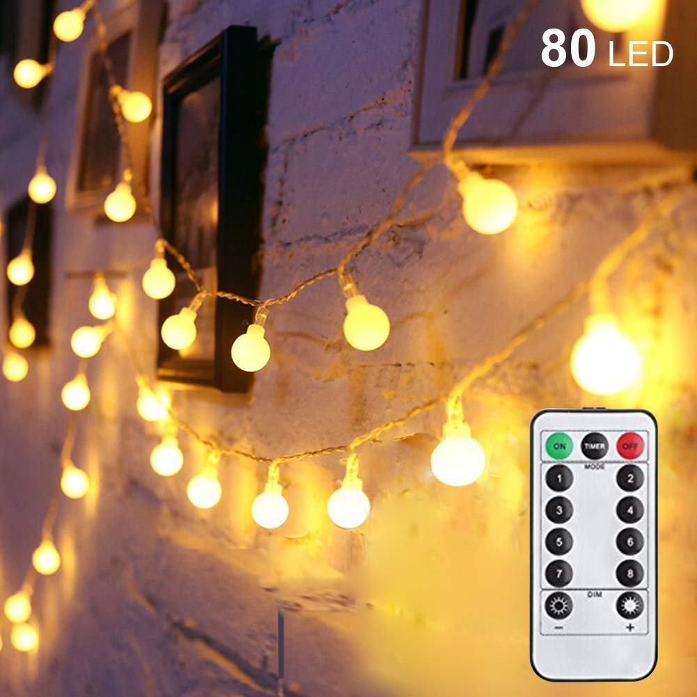 Twinkle Star 80 LED 34 FT Ball String Lights Battery Operated, Fairy String Lights with Remote Control, Waterproof for Indoor Outdoor Garden Wedding Party Christmas Decoration, Warm White