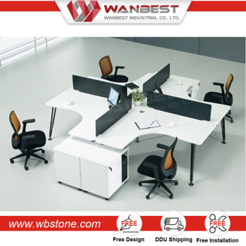 Modern Design 4 People Office Separation Computer Desk Workstation Seating Cubicle