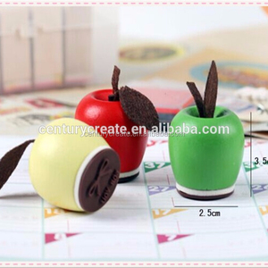 cute Mini apple wooden rubber seal stamps for kids