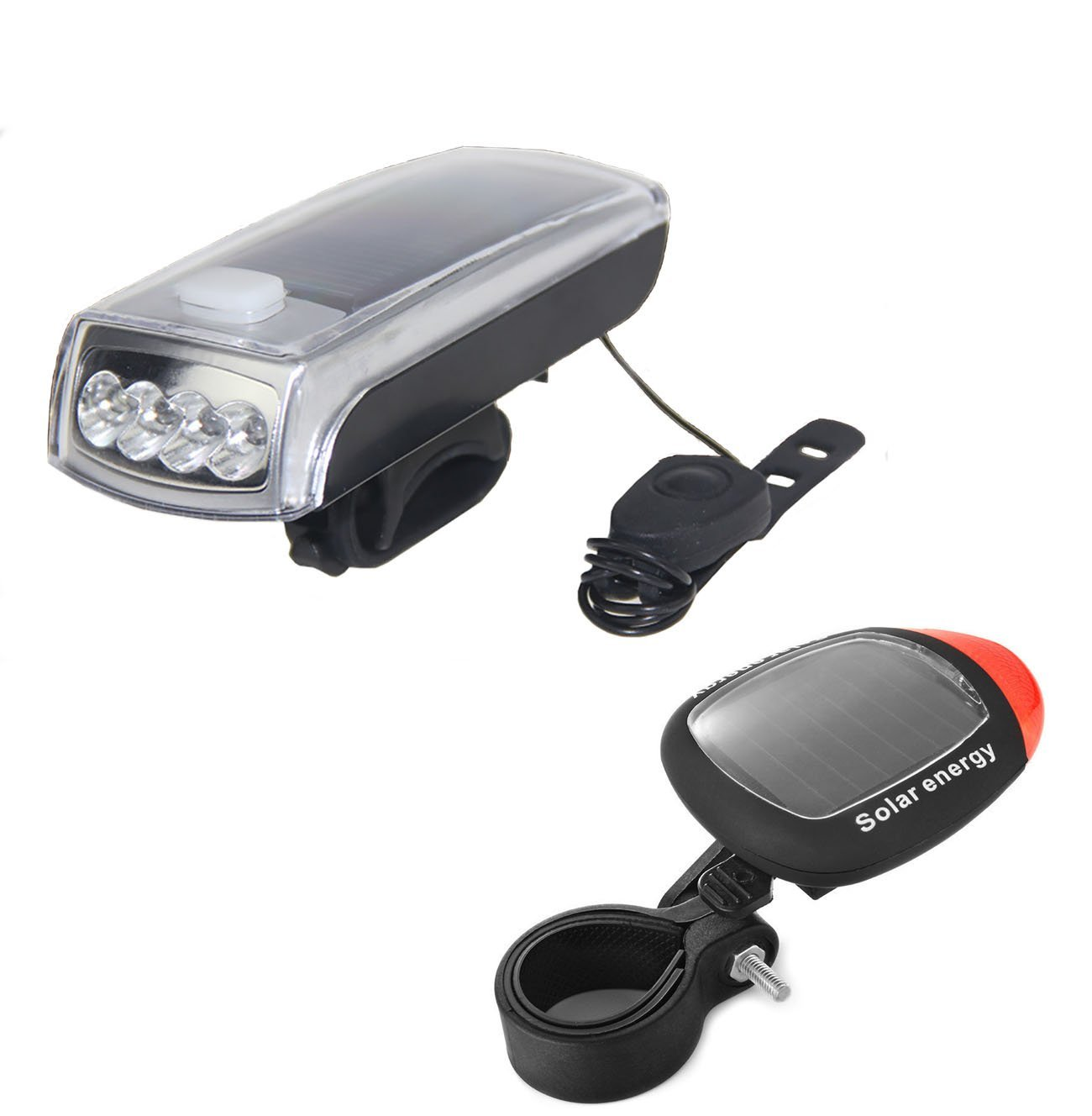 Ultra Bright Bicycle Lights Set - Front Headlights & Horn & Back Taillights, Two(Solar and USB)-in-One Rechargeable LED Bike Front Lights, Waterproof & Safety Road, 1200mAH/1200 Lumens Head Lights.