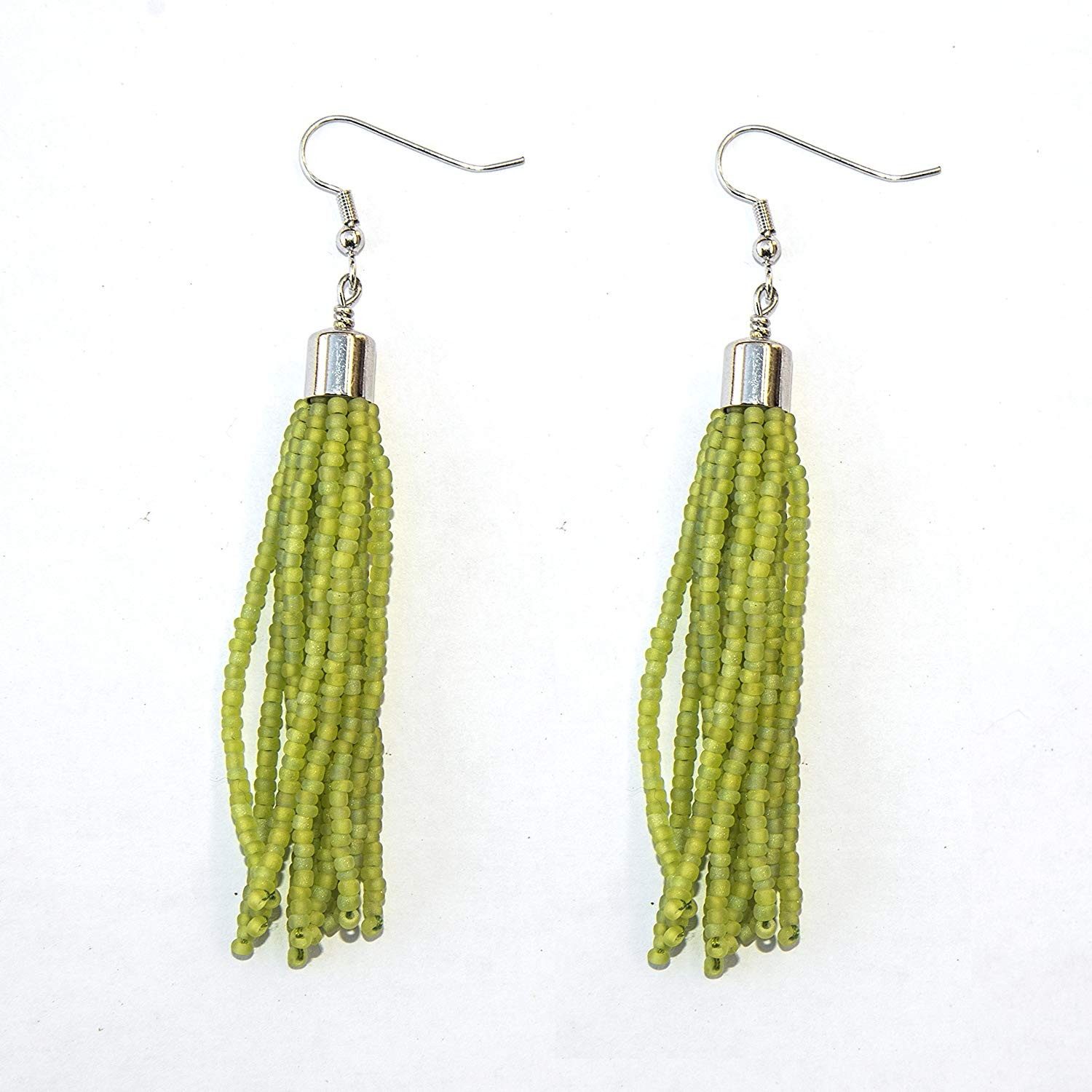 Matte Lime Bright Green Seed Beaded Tassel Earring with Rhodium Plated Brass Findings