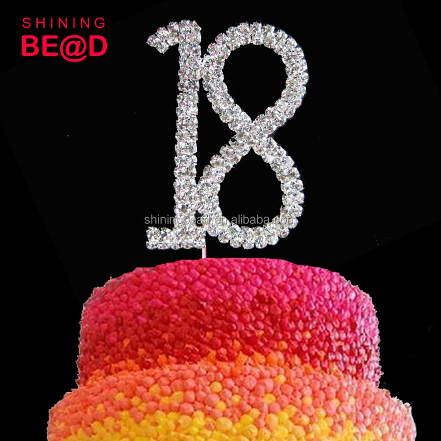 Tremendous Birthday Number Rhinestone Cake Topper 18 Happy Birthday Cake Funny Birthday Cards Online Inifofree Goldxyz