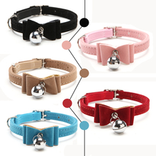 2016 Safety Elastic Quick release bow tie with bell small dog cat collars safe soft velvet 5 colors pet Products free shipping