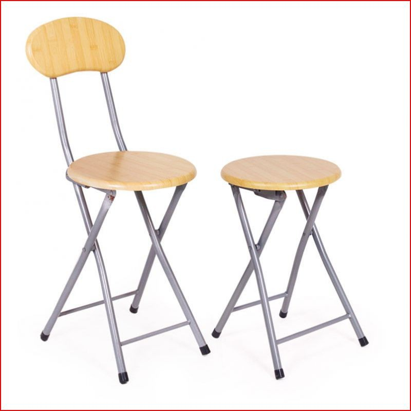 Small Lightweight Round Folding Stool With Back Support